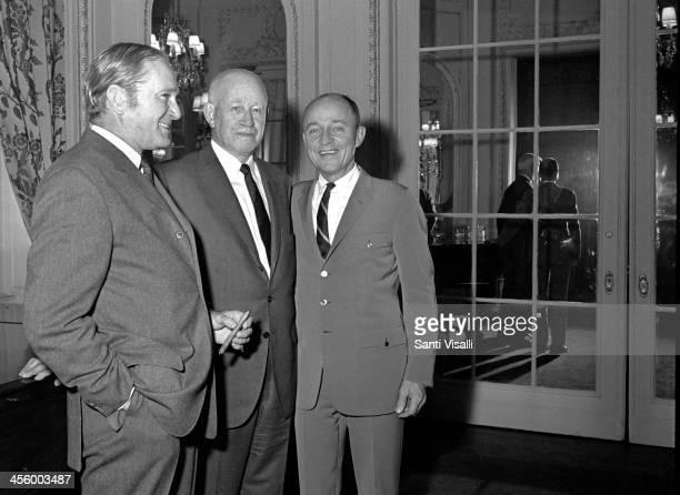 Movie Producer Frank McCarthy General Omar Bradley and Director Franklin Schaffner on April 4, 1970 in New York, New York.