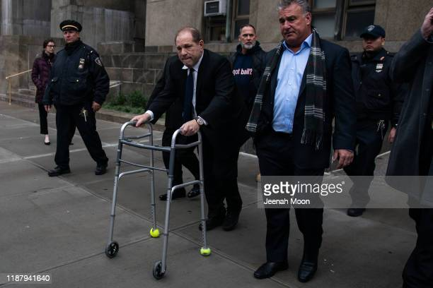 Movie producer Harvey Weinstein departs from criminal court after a bail hearing on December 11, 2019 in New York City. Weinstein was in court for a...