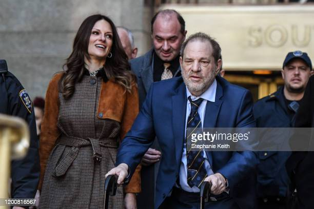 Movie producer Harvey Weinstein departs his sexual assault trial at New York Criminal Court with his lawyer Donna Rotunno on February 14, 2020 in New...