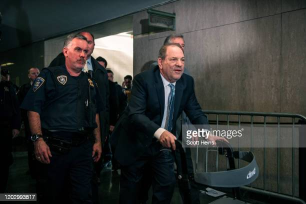 Movie producer Harvey Weinstein enters New York City Criminal Court on February 24, 2020 in New York City. Jury deliberations in the high-profile...