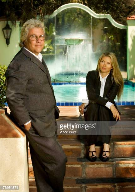 Movie producer Jon Peters and wife Mindy pose for a portrait at home on April 24 2007 in Beverly Hills California