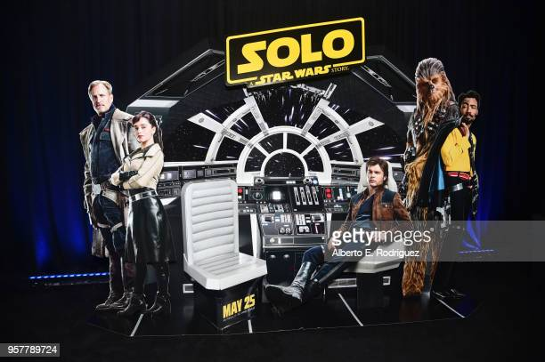 Movie signage on display during a press conference in Los Angeles on May 12 2018 for 'Solo A Star Wars Story' which opens in US theaters on May 25