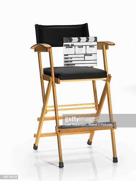 Movie slate resting in directors chair
