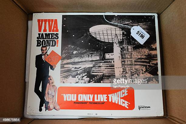 A movie soundtrack album from You Only Live Twice is displayed during a James Bond memorabilia auction on November 25 2015 in StocktononTees England...