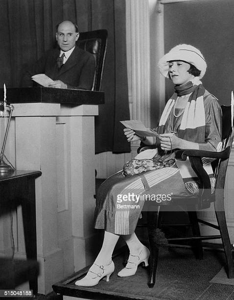 Movie Star Acquitted of Bigamy Charge. Miss Jean Acker, former wife of Valentino, testifying in court at the actor's trial.