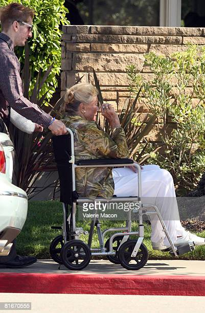 Movie Star Esther Williams leaves Cyd Charisse's Funeral at the Hillside Memorial Park June 22 2008 in Los Angeles California
