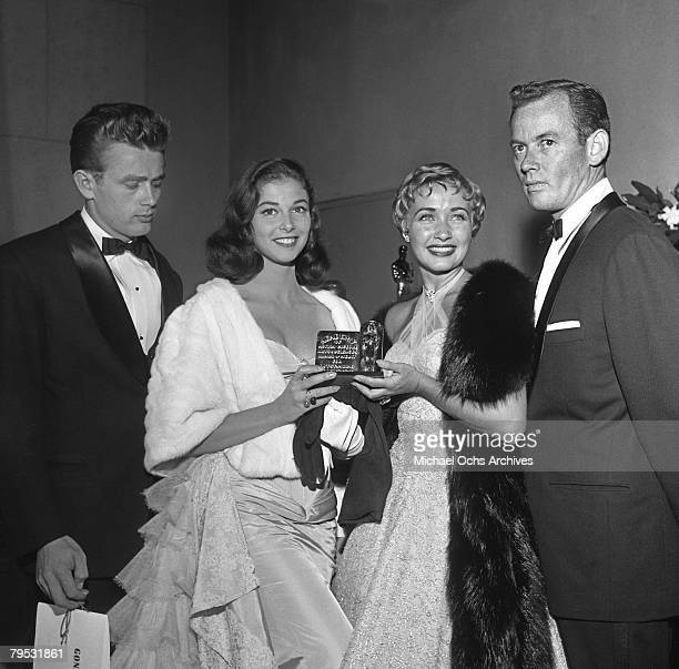 Movie star James Dean and Italian born actress Pier Angeli with Jane Powell attend the premiere of the rerelease of Gone With The Wind on August 10...