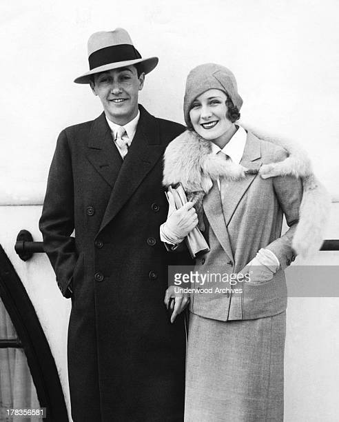 Movie star Norma Shearer and movie producer Irving Thalberg as they arrive in New York aboard the Majestic from a belated honeymoon abroad New York...