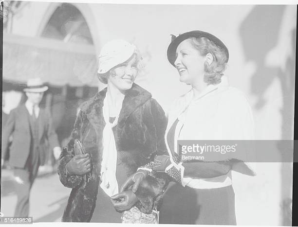 Movie Stars Lunch Billie Dove prominent film star and her sisterinlaw Mary Ashcraft leave the Brown Derby after luncheon in the famous restaurant...