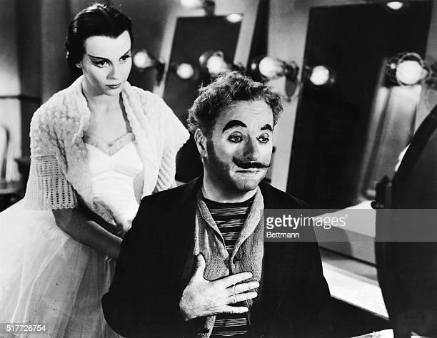Movie still from 'Limelight' showing Charles Chaplin and Claire Bloom