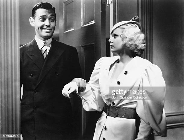 Movie still from the 1933 film Hold Your Man In this scene Clark Gable appears in the doorway as Jean Harlow looks at him