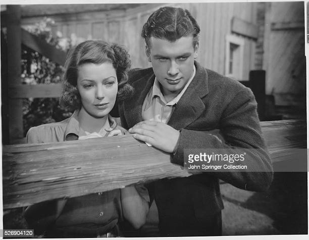 Movie still from the 1938 film Kentucky In this scene Loretta Young and Richard Greene stand in a stable together