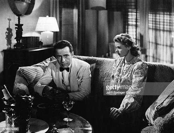 Movie still from the 1942 classic 'Casablanca' In this scene Humphrey Bogart and Ingrid Bergman reminisce about Paris on a couch