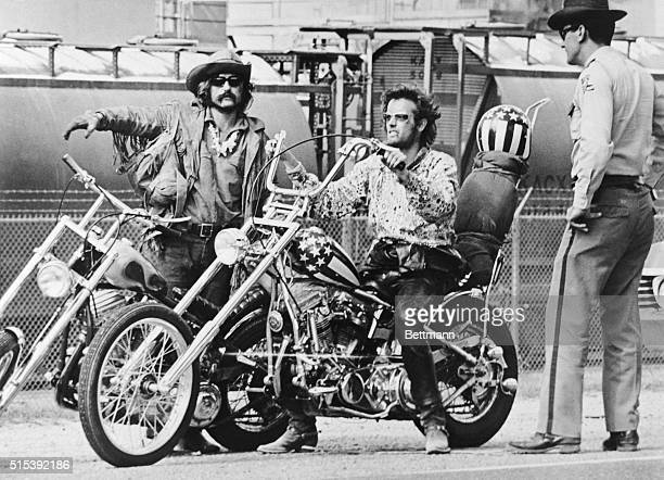 Movie still of Dennis Hopper and Peter Fonda riding bikes in a scene from the movie 'Easy Rider'