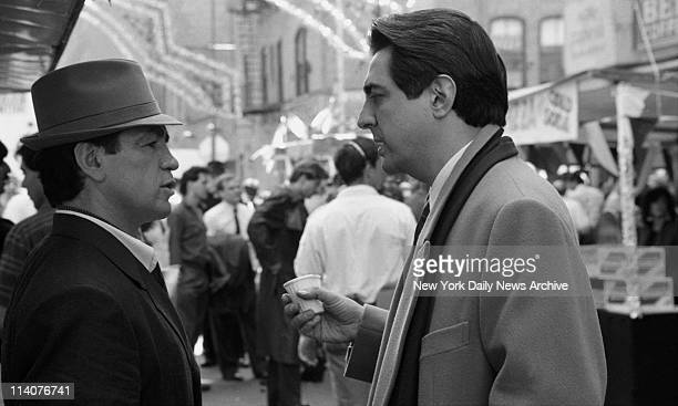 Movie The Godfather III Summertime in Little Italy Well you're meant to think so Actors Vito Antuofermo and Joe Mantagna make a sidewalk scene in the...
