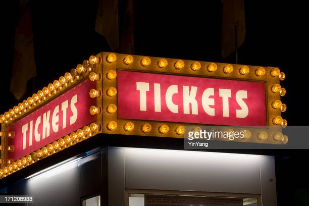 Movie Theater and Carnival Ticket Sign Lit up with Light