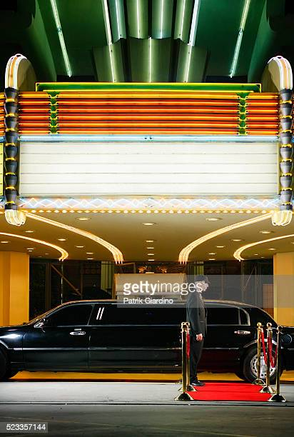 movie theater marquee and limo - premiere event stock pictures, royalty-free photos & images