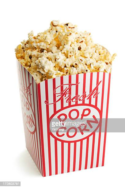 Movie Theater Popcorn Box, Fresh Snack Food Isolated on White