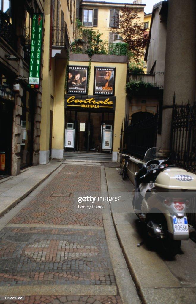 Movie theatre off Via Torino. : Stock Photo