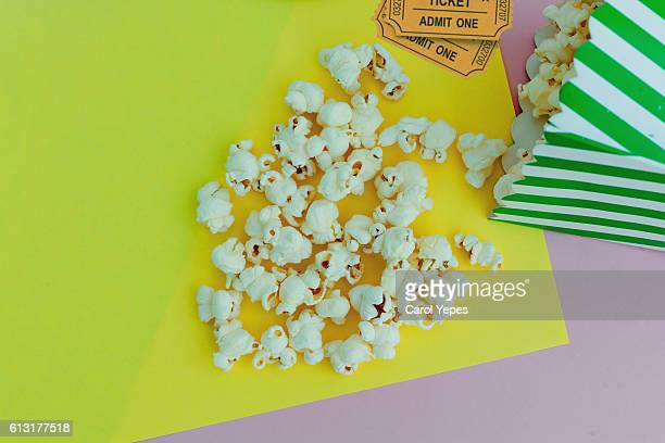 Movie tickets with pop corn