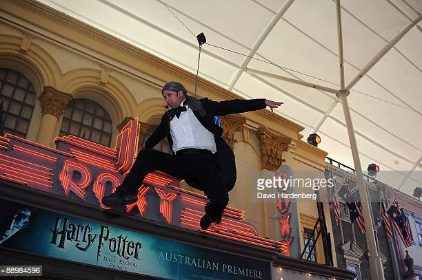 Movie world actor flies through the air during the premiere of 'Harry Potter and the HalfBlood Prince' at Warner Bros Movie World on July 12 2009 on...