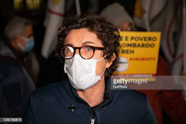 Movimento 5 Stelle political party former minister Danilo Toninelli attends the Liberiamo La Lombardia protest in front of Palazzo Lombardia to...
