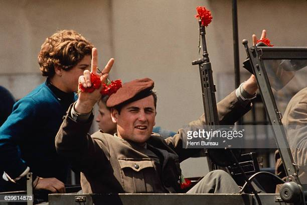 Movimento das Forcas Armadas soldiers take position in the streets of Lisbon three days after the April 25 coup d'etat, which overthrew the Salazar...