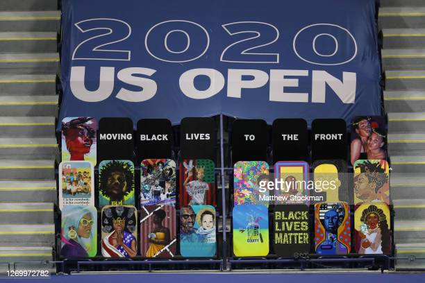 Moving Black Lives to the front signage at Arthur Ashe Stadium on Day One of the 2020 US Open at the USTA Billie Jean King National Tennis Center on...