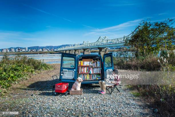 a moving bookstore. - offbeat stock pictures, royalty-free photos & images
