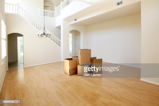 Moving Boxes In An Empty House Stock Photo Getty Images