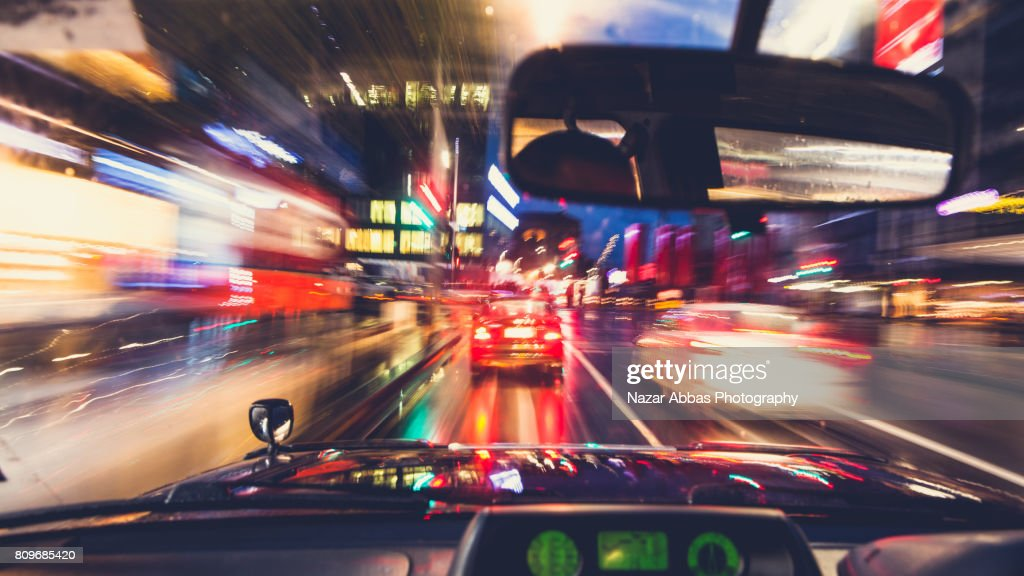 Moving Car In City Driver POV. : Stock Photo
