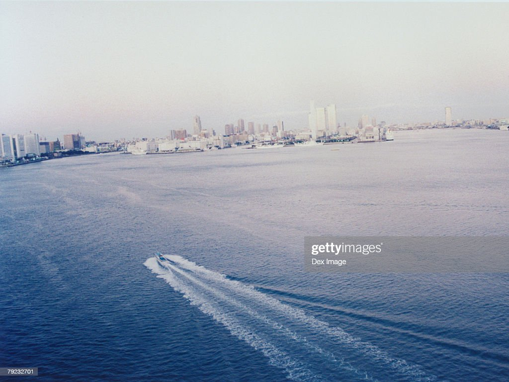 Moving cruise, aerial view, Tokyo Bay, Japan : Stock Photo