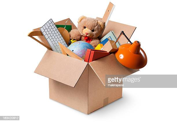 moving house. cardboard box with various objects. - man made object stock pictures, royalty-free photos & images