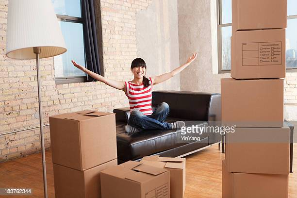 Moving House, Relocating Apartment, Asian Woman with Box Container