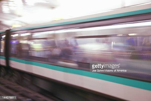 Moving Metro Train Paris France
