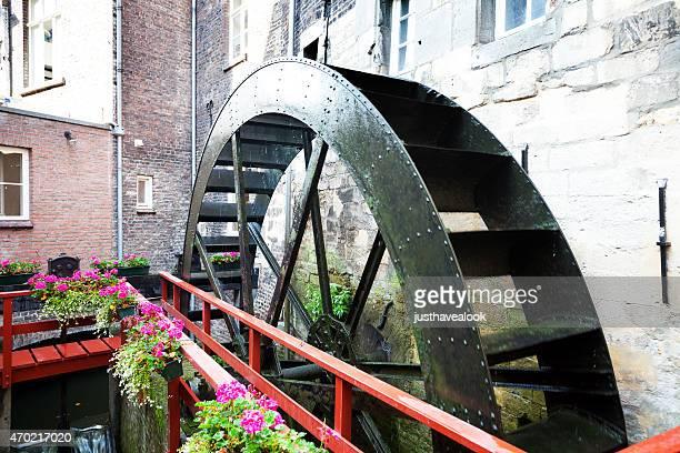 moving old water wheel of bisschopsmolen in maastricht - molen stockfoto's en -beelden