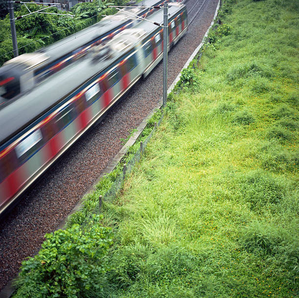 2 moving trains passing through a grass field