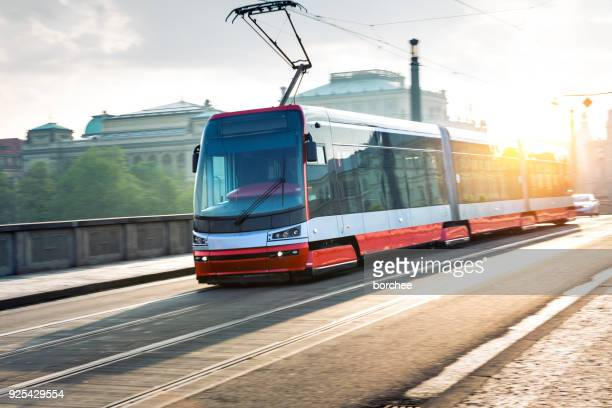 moving tram in prague - cable car stock pictures, royalty-free photos & images