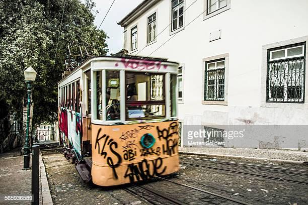 moving tram on calçada da glória - calçada stock pictures, royalty-free photos & images