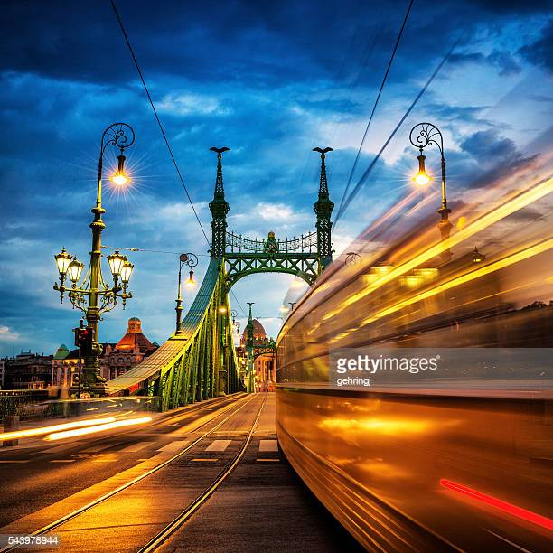 Moving Trams on Liberty Bridge, Budapest