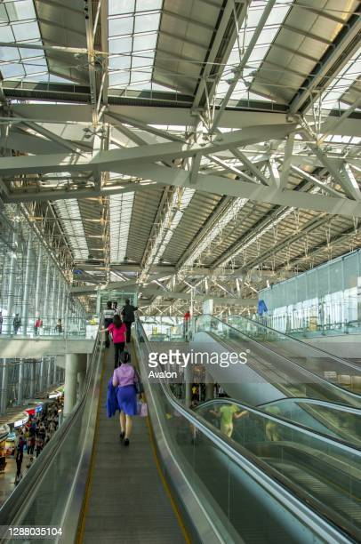 Moving walkway in the interior of the Suvarnabhumi Airport, also known unofficially as Bangkok Airport, is one of two international airports serving...