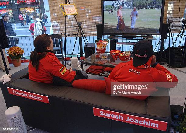 Moving Watching Contestants Claudia Wavra and Suresh Joachim during the Movie Watching World Championship at Military Island in Times Square on...