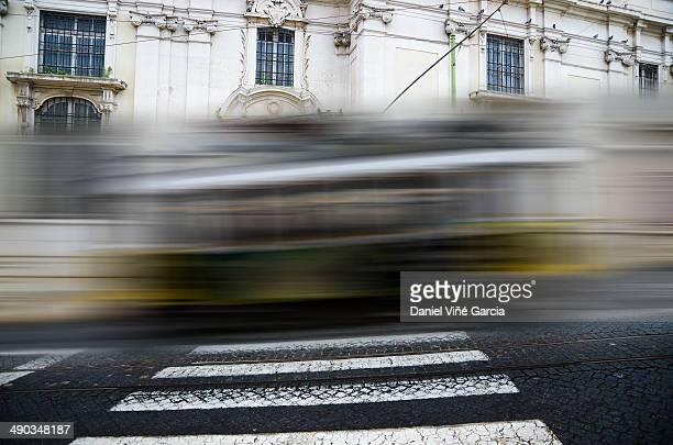 Moving yellow tram