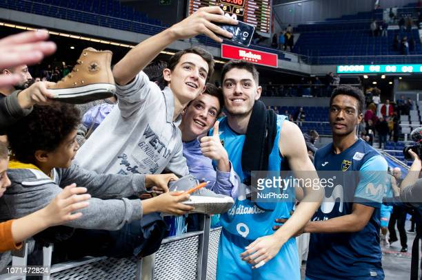 Movistar Estudiantes Edgar Vicedo taking a selfie with fans during Liga Endesa match between Movistar Estudiantes and San Pablo Burgos at Wizink...
