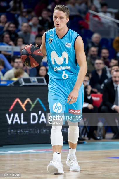 Movistar Estudiantes Ludde Hakanson during Liga Endesa match between Movistar Estudiantes and San Pablo Burgos at Wizink Center in Madrid Spain...