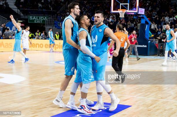 Movistar Estudiantes Victor Arteaga Alessandro Gentile and Gian Clavell celebranting the victory during Liga Endesa match between Movistar...