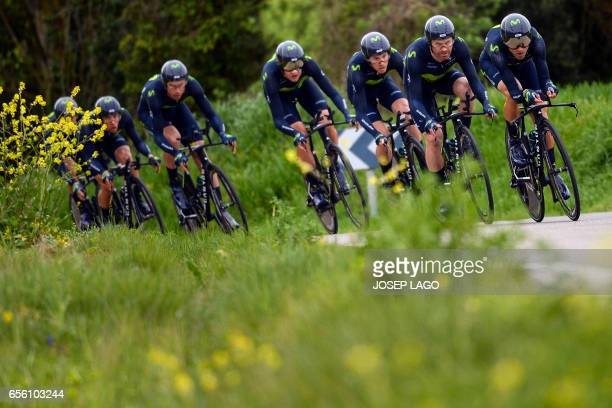 Movistar team rides during the Team Time Trial on day two of the 97th Volta Catalunya 2017, a 41,3 km ride starting and finishing in Banyoles, on...