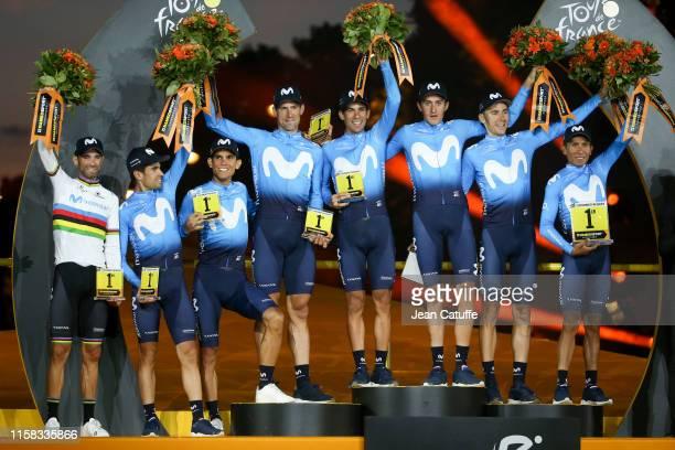 Movistar Team - with Alejandro Valverde of Spain, Andrey Amador of Costa Rica, Imanol Erviti of Spain, Mikel Landa Meana of Spain, Nelson Oliveira of...
