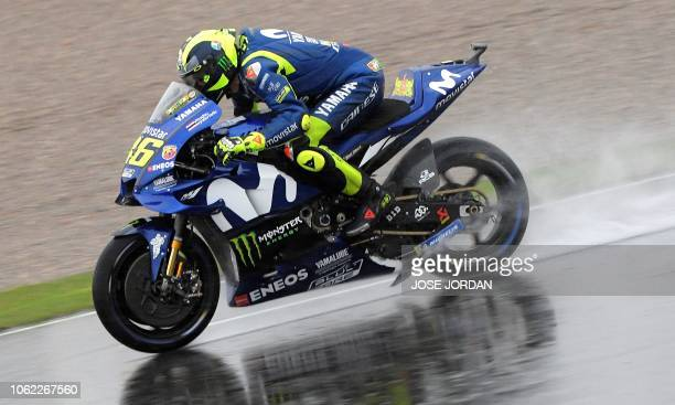 Movistar Yamaha MotoGP Italian rider Valentino Rossi rides during the first free practice session of the MotoGP Valencia Grand Prix at the Ricardo...
