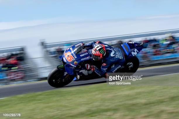 Movistar Yamaha MotoGP rider Maverick Vinales in qualifying during The 2018 Australian MotoGP at The Phillip Island Circuit in Victoria Australia on...